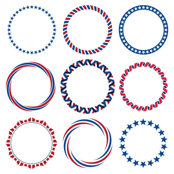 collection of round fourth of july vintage label borders - us flag stock illustrations