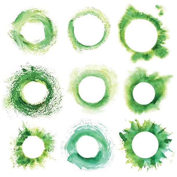 ilustrações, clipart, desenhos animados e ícones de collection of round green frame with grunge - planos de fundo borrados