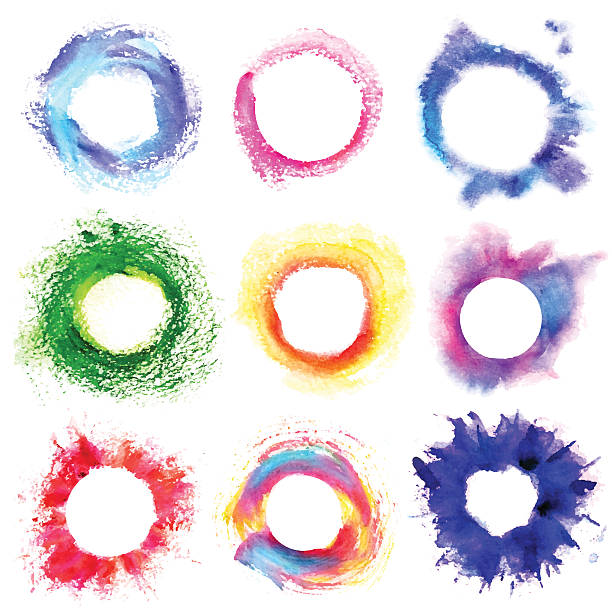 ilustrações, clipart, desenhos animados e ícones de collection of round multicolored frame with grunge - planos de fundo borrados
