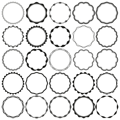 Collection of Round Wax Seal style Border Frames with Clear Background. Ideal for vintage label designs.
