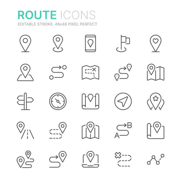 Collection of route related line icons. 48x48 Pixel Perfect. Editable stroke Collection of route related line icons. 48x48 Pixel Perfect. Editable stroke navigational equipment stock illustrations