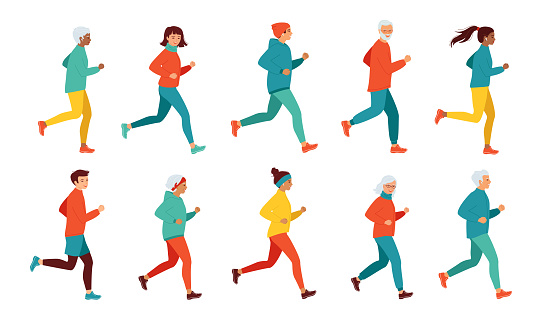 Collection of running women and men of different ages and nationalities. Healthy lifestyle, active retired seniors. Morning, evening jogging, city marathon, competitions. Vector illustration