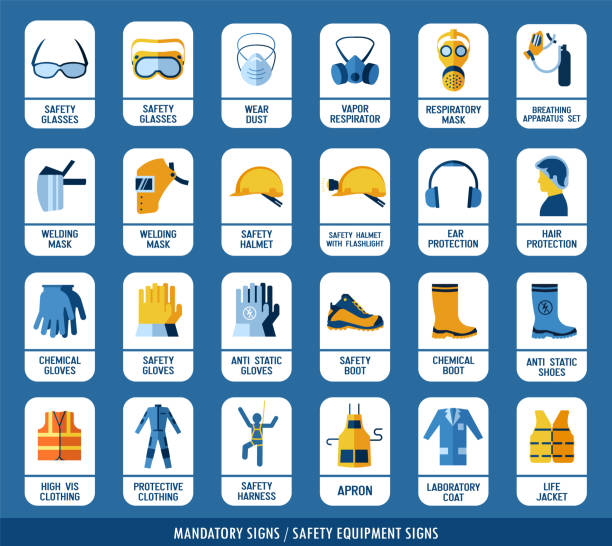 Collection of safety equipment. Set of safety and health protection signs. Mandatory construction and industry signs. Protection on work. protective workwear stock illustrations