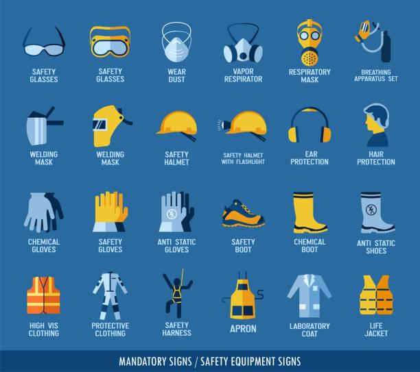 sammlung von sicherheitsausrüstung. - schutzhandschuhe stock-grafiken, -clipart, -cartoons und -symbole