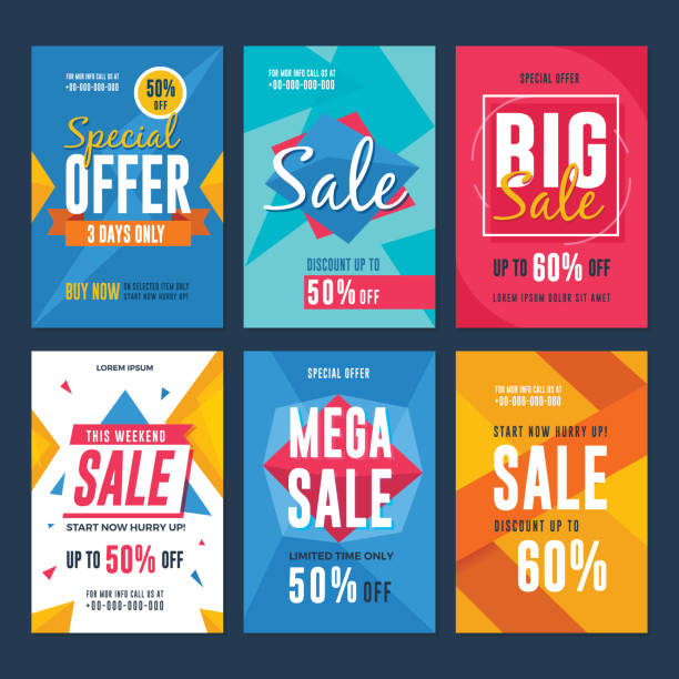 illustrazioni stock, clip art, cartoni animati e icone di tendenza di collection of sale and discount flyers - sales