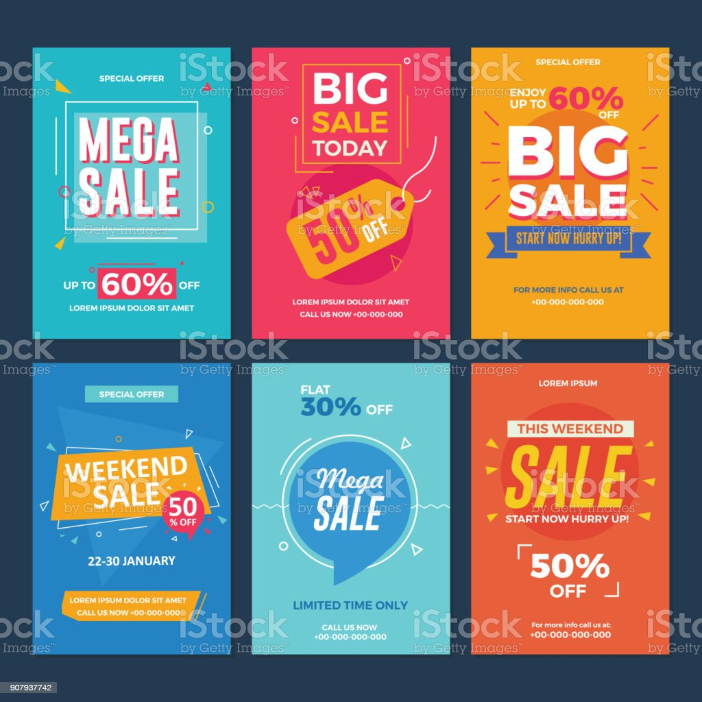 Collection of Sale and Discount Offers Flyers vector art illustration