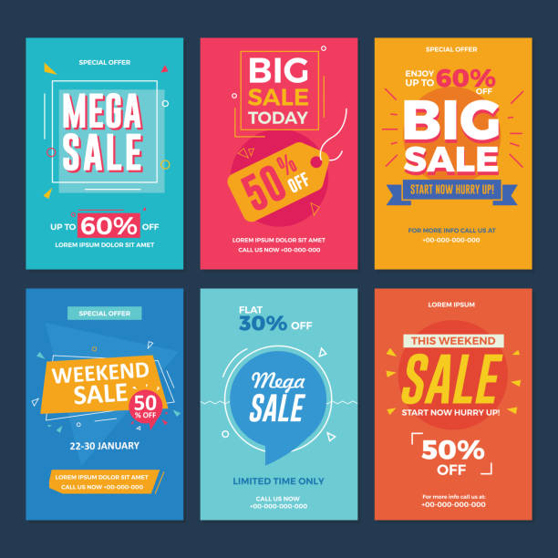 stockillustraties, clipart, cartoons en iconen met collectie van sale en korting biedt flyers - flyer