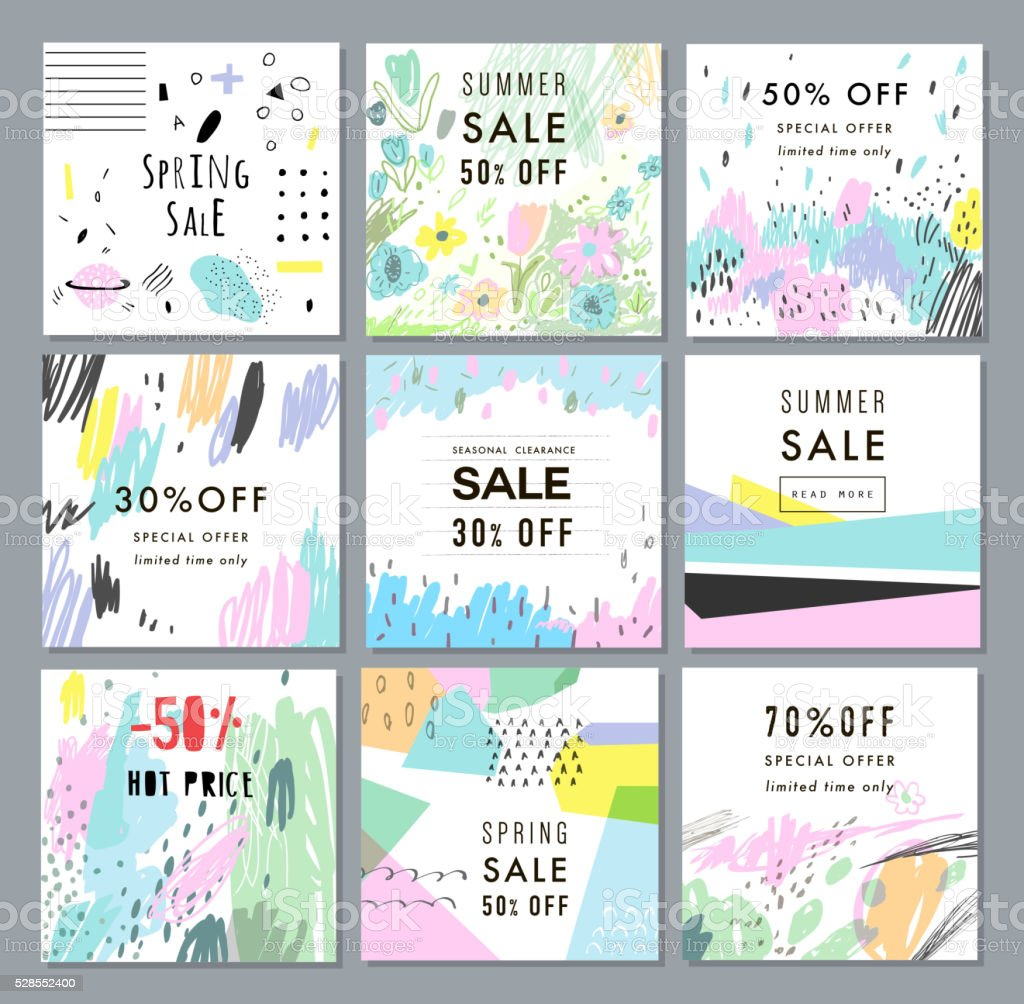 Collection of Sale banners. Sale template, tag, poster vector art illustration