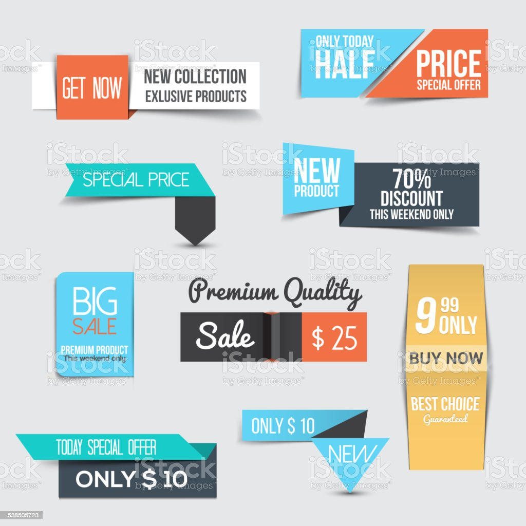 Collection of Sale Discount Styled origami Banners vector art illustration