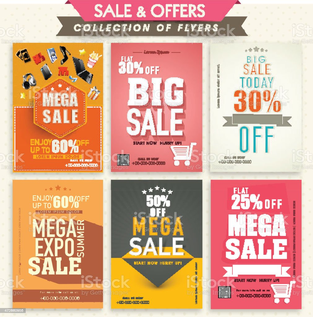 Collection of Sale Flyers. vector art illustration