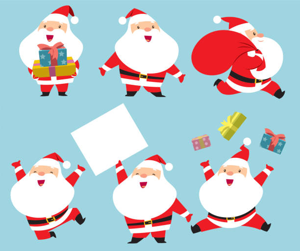 collection of santa claus - санта клаус stock illustrations