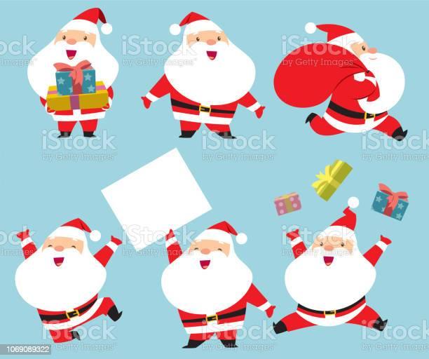 Collection Of Santa Claus - Immagini vettoriali stock e altre immagini di Allegro
