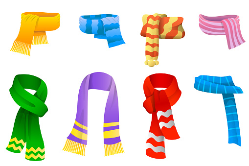 Collection of scarves for boys and girls in cold weather. Scarves set icons in cartoon style. Winter warming clothes. Vector illustration