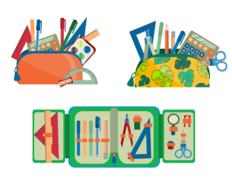 collection of school supplies in a pencil case. pencil cases with tools for drawing and writing, set of paints and a calculator is isolated on a white background. Vector illustration in flat style.