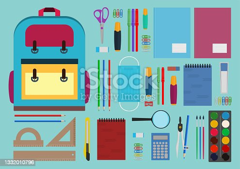 istock Collection of school supplies, isolated on white background. 1332010796