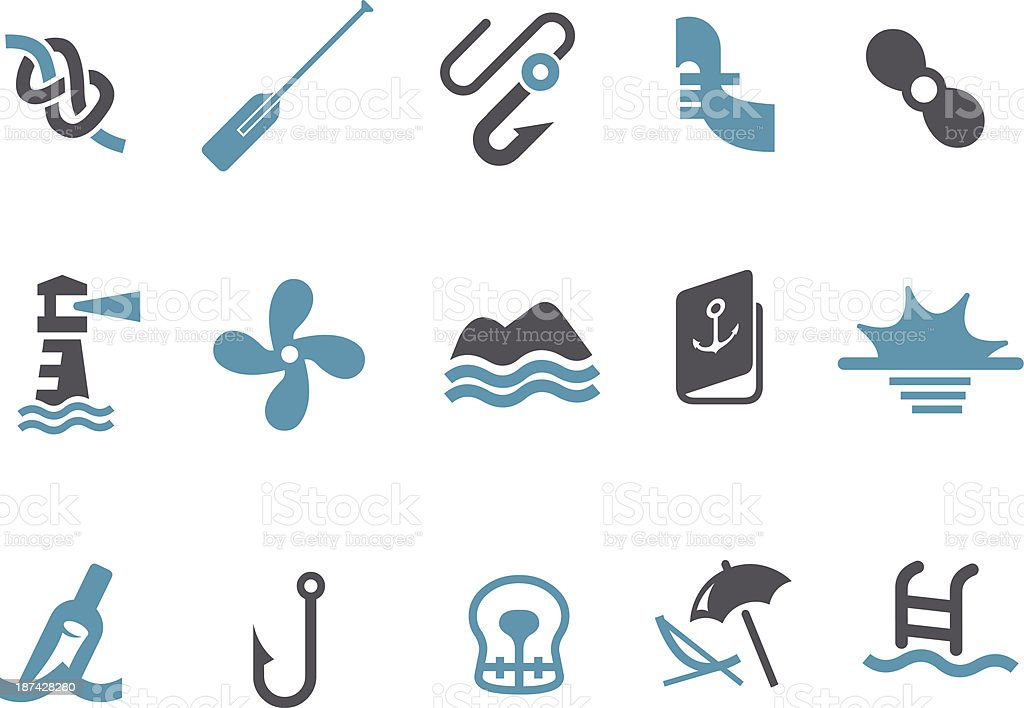 Collection of sea themed icons in blue and black royalty-free collection of sea themed icons in blue and black stock vector art & more images of beach