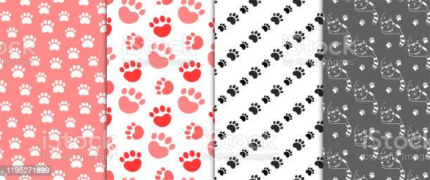 Collection of seamless backgrounds with patterns of cat feet and cats vector id1195271899?b=1&k=6&m=1195271899&s=612x612&h=gpihfyklica2b0 8age 6xgkfrnbtaviun4bnxfyiwg=