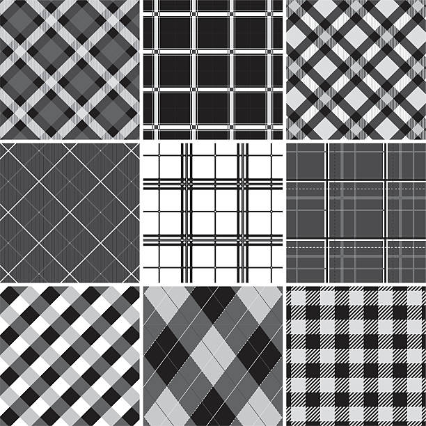 Collection of seamless black &  white checked cotton pattern Collection of seamless checked cotton pattern. Just choose/click one of the pattern swatches in Illustrator and fill a form with it or draw a rectangle or whatsoever. You can't take one of the images in the 3x3 grid and just duplicate them (or drag them to the swaches box) - they are just a preview. If you need some assistance, just sitemail me. tartan pattern stock illustrations