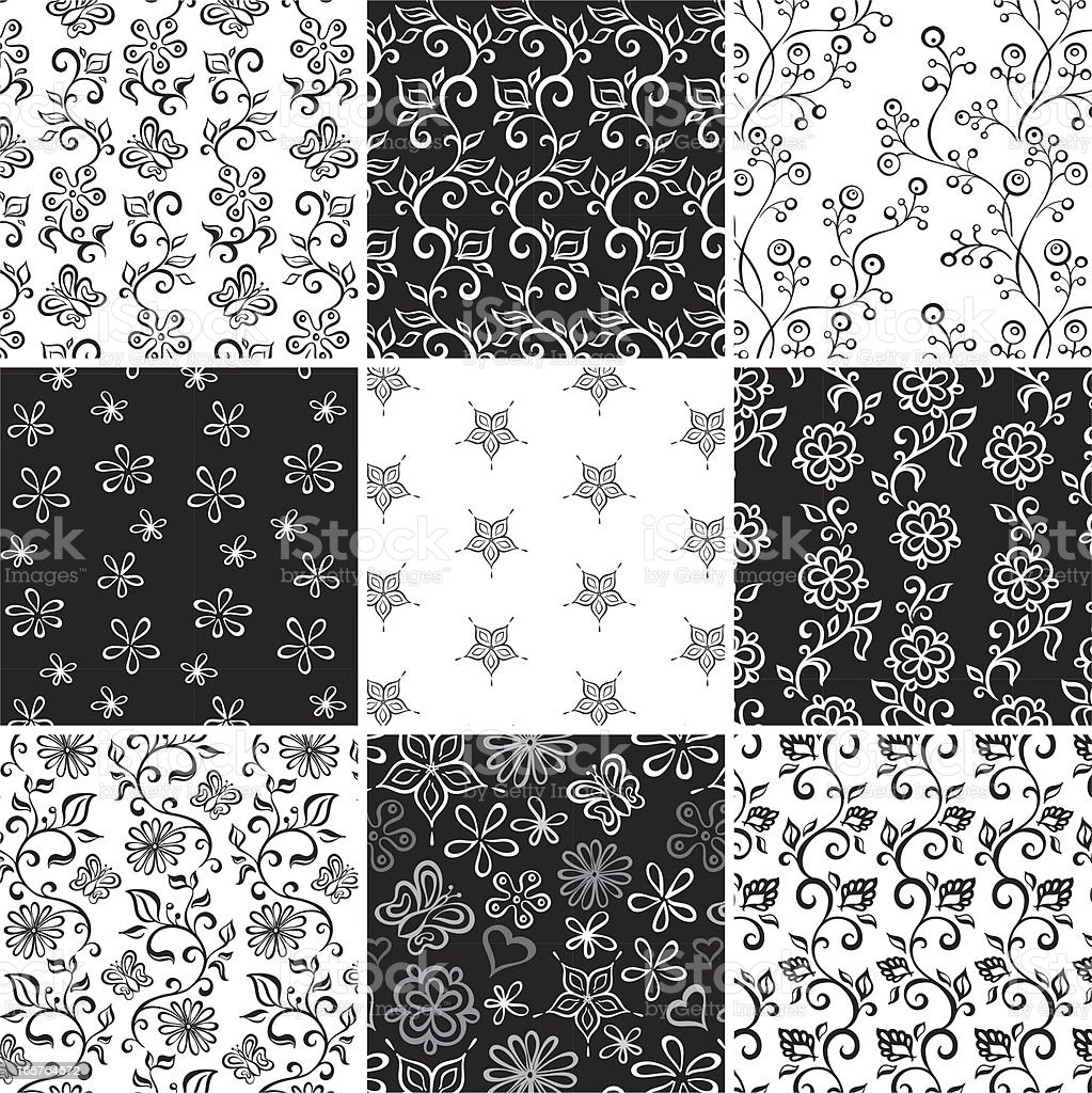 Collection of seamless black & white floral pattern royalty-free stock vector art