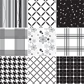 Collection of seamless black & white pattern. Just choose/click one of the pattern swatches in Illustrator and fill a form with it or draw a rectangle or whatsoever. You can't take one of the images in the 3x3 grid and just duplicate them (or drag them to the swaches box) - they are just a preview. If you need some assistance, just sitemail me.