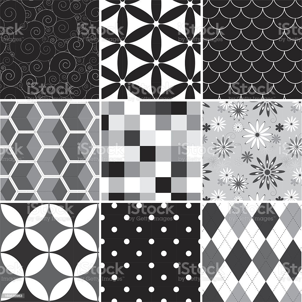 Collection of seamless black & white pattern Collection of seamless black & white pattern. Just choose/click one of the pattern swatches in Illustrator and fill a form with it or draw a rectangle or whatsoever. You can't take one of the images in the 3x3 grid and just duplicate them (or drag them to the swaches box) - they are just a preview. If you need some assistance, just sitemail me. If you need some assistance, just sitemail me. Abstract stock vector