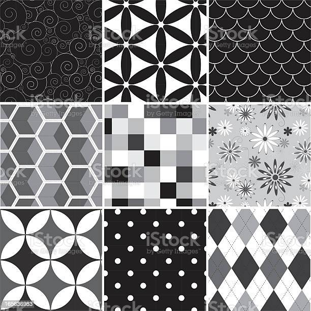 Collection Of Seamless Black Amp White Pattern Stock Illustration - Download Image Now