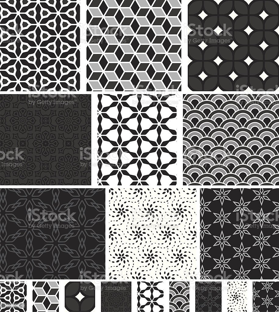 Collection of seamless black & white pattern vector art illustration