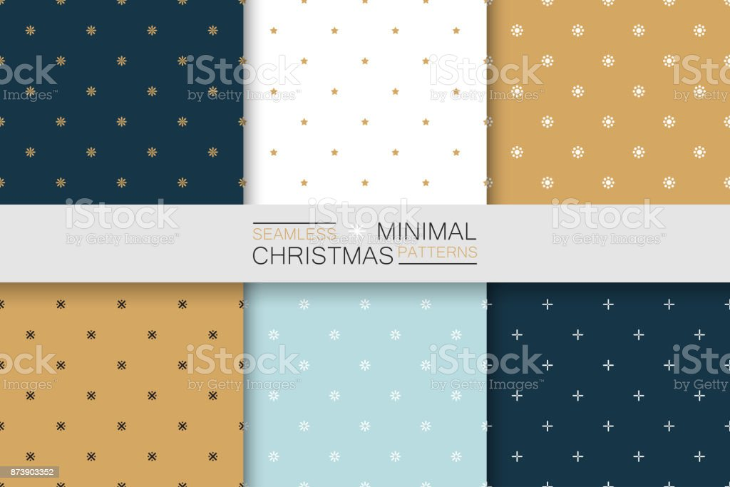 シームレスなクリスマス パターン - ミニマルなデザインのコレクションです。単純なカラフルな背景 ベクターアートイラスト