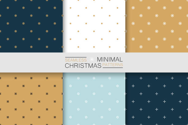 collection of seamless christmas patterns - minimalistic design. simple colorful backgrounds - papier do pakowania stock illustrations