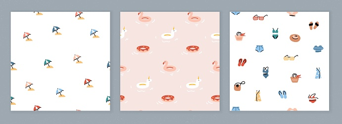 Collection of seamless designs with summer icons. Trendy patterns with simple colorful illustrations. Flat vector drawing
