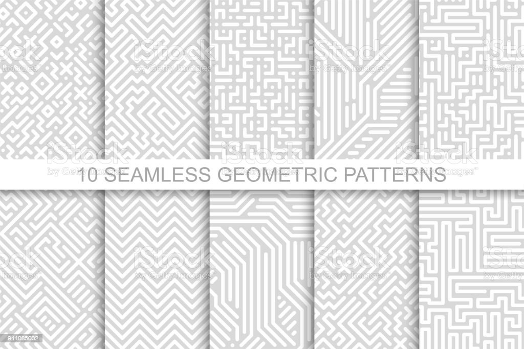 Collection of seamless geometric patterns - gray striped design. Vector digital backgrounds vector art illustration