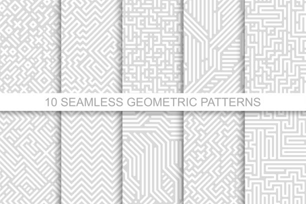 collection of seamless geometric patterns - gray striped design. vector digital backgrounds - бесшовный узор stock illustrations