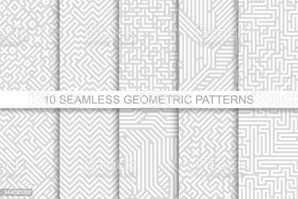 Collection Of Seamless Geometric Patterns Gray Striped Design Vector Digital Backgrounds - Arte vetorial de stock e mais imagens de Abstrato