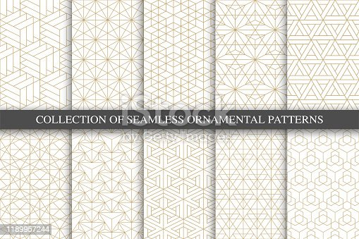 Collection of seamless ornamental geometric minimalistic patterns. Luxury trendy grid backgrounds. Creative linear gold texture.