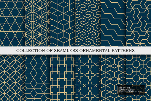 Collection of seamless ornamental vector patterns - geometric blue trendy design. Grid mosaic textures. You can find repeatable backgrounds in swatches panel