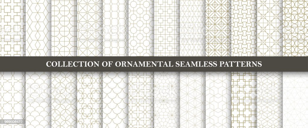Samling av sömlösa prydnads vektor mönster. Grid geometriska orientalisk design. - Royaltyfri Abstrakt vektorgrafik
