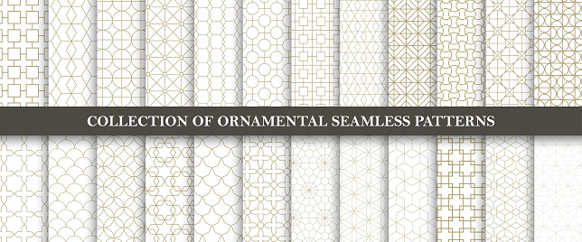 Collection of seamless ornamental vector patterns. Grid geometric oriental design. clipart