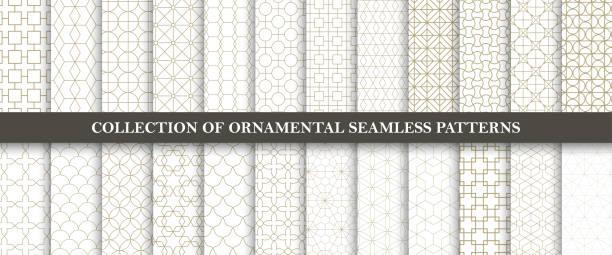illustrazioni stock, clip art, cartoni animati e icone di tendenza di raccolta di modelli vettoriali ornamentali senza soluzione di continuità. design orientale geometrico a griglia. - motivo ripetuto