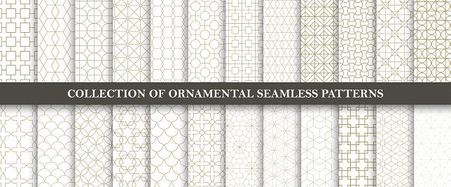 원활한 장식 벡터 패턴의 컬렉션입니다 그리드 기하학적 동양 디자인입니다 0명에 대한 스톡 벡터 아트 및 기타 이미지