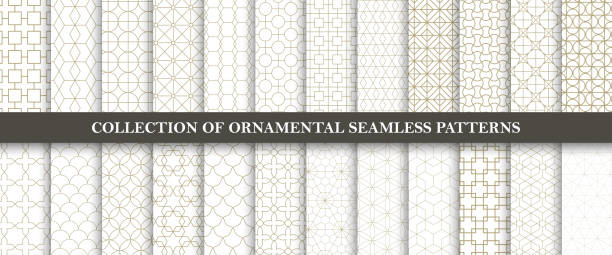 collection of seamless ornamental vector patterns. grid geometric oriental design. - бесшовный узор stock illustrations