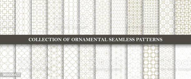 Samling Av Sömlösa Prydnads Vektor Mönster Grid Geometriska Orientalisk Design-vektorgrafik och fler bilder på Abstrakt