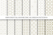 Collection of seamless ornamental vector patterns. Grid geometric oriental design. You can find repeatable backgrounds in swatches panel.