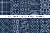 Collection of seamless ornamental vector patterns. Oriental geometric design. You can find repeatable backgrounds in swatches panel.