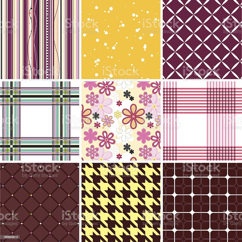 Collection of seamless pattern vector art illustration