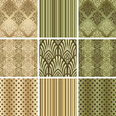 Set Damask seamless pattern for design. Vector Illustration