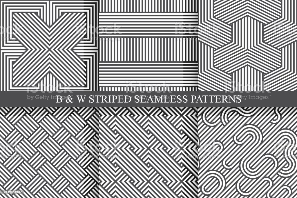 Collection of seamless striped patterns. Black and white wicker texture. vector art illustration