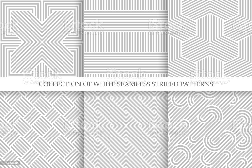Collection of seamless striped patterns. White and gray repeatable wicker texture vector art illustration
