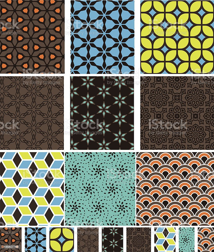 Collection of seamless textile/wallpaper pattern vector art illustration