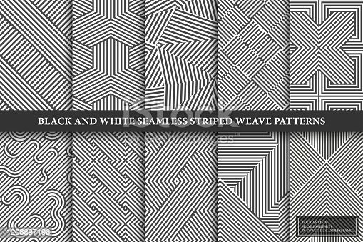 Collection of seamless weave geometric patterns. Black and white endless striped textures - creative monochrome backgrounds. You can find repeatable design in swatches panel.