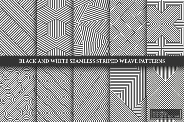 stockillustraties, clipart, cartoons en iconen met verzameling van naadloze weven geometrische patronen. zwart-wit eindeloze gestreepte texturen - creatieve monochrome achtergronden. u herhaalbaar ontwerp vinden in het deelvenster stalen - pattern